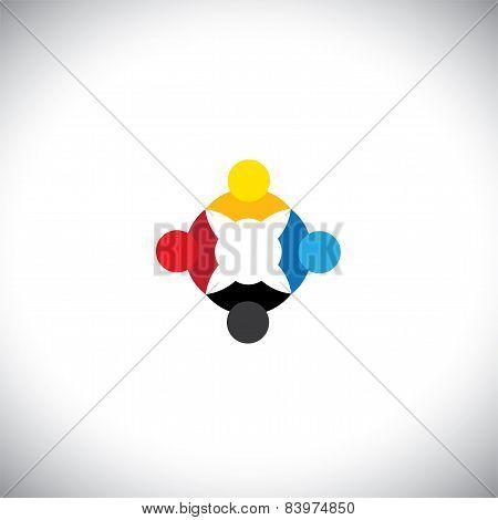 Social Network Community Friends Partners - Concept Vector Graphic