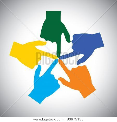 Vector Icon Of Many Hands Touching Each Other - Concept Of Unity.