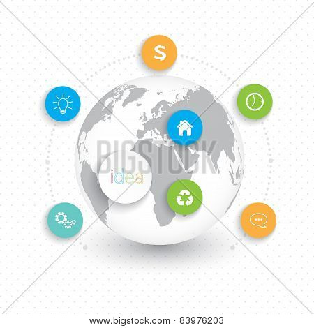 Modern infographic network template with place for your text. Can be used for workflow layout, diagr