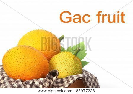 Gac Fruit, Baby Jackfruit, Spiny Bitter Gourd In Wooden Crate