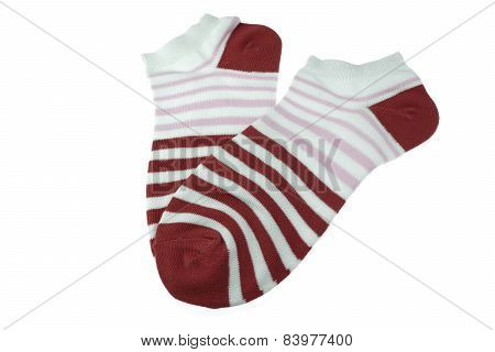 Pair Dark Red And White Striped Ladies Socks