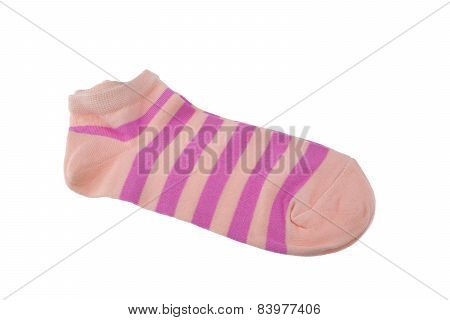 Pair Coral And Pink Striped Ladies Socks