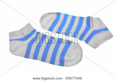 Pair Blue And White And Pink Striped Ladies Socks