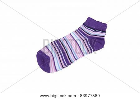 Pair Violet, Black, White And Pink Striped Ladies Socks