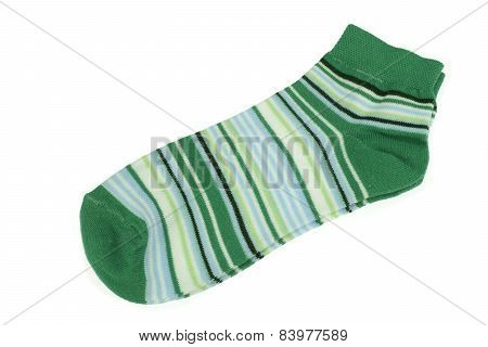 Pair Green  And Magic Mint Striped Ladies Socks