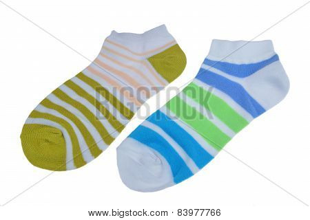 Pair Of Different Sport Striped Ladies Socks