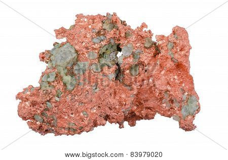 Native Copper From Above Over White Background