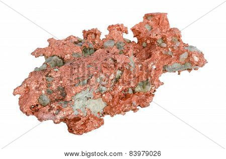 Natural Copper From Above Over White Background