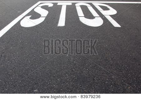 Stop Sign Painted On Street