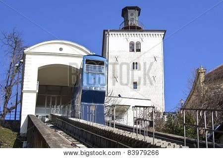 Funicular And Kula Lotrscak In Zagreb