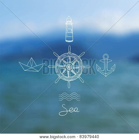 Vector Blurred Background With Sea, Steering Wheel Ship, Paper Boat, Anchor, Lighthouse.