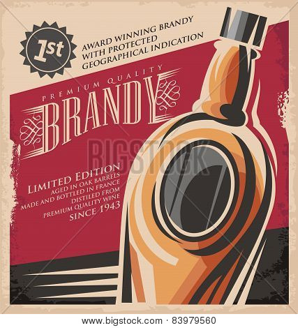 Brandy retro poster design template