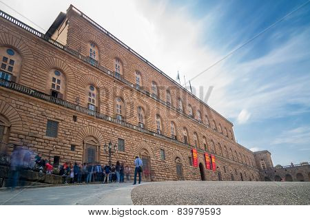 Long Exposure Of Palazzo Pitti Building In Florence