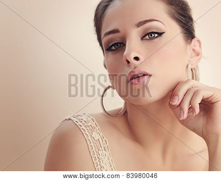 Beautiful Alluring Woman With Mystery Look. Closeup Art Color Portrait