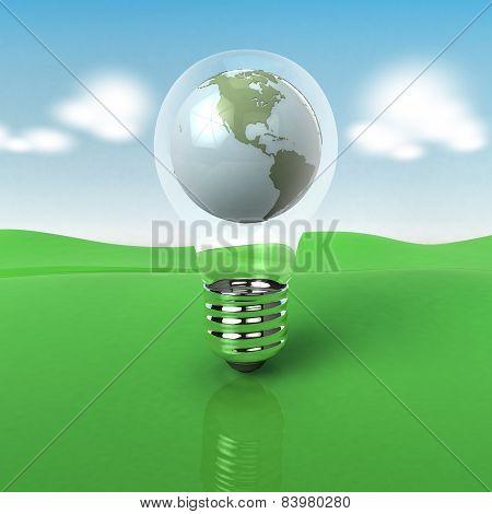 Earth in light bulb