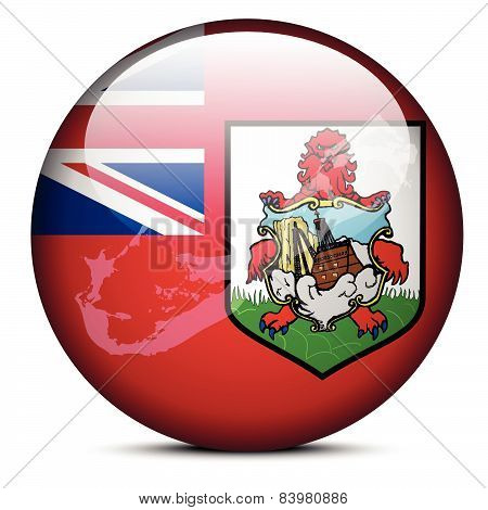 Map On Flag Button Of Bermuda