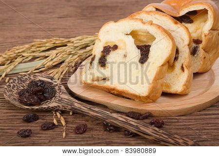 Slice Of Home Made Raisin Bread