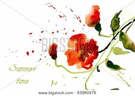 Flowers poppies red with splashes of watercolor