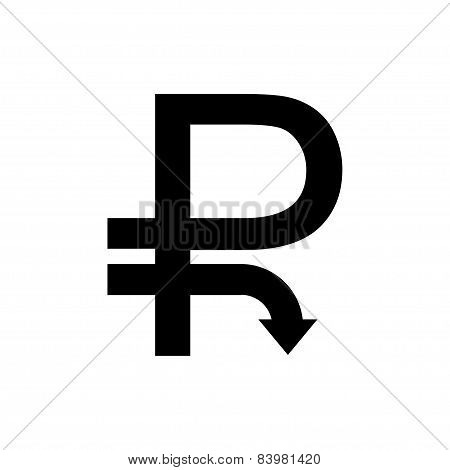 vector modern concept ruble icon with down Arrow