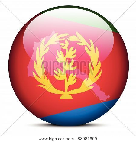 Map On Flag Button Of State Of Eritrea
