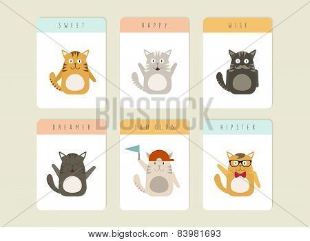 Happy Cat Icons Set