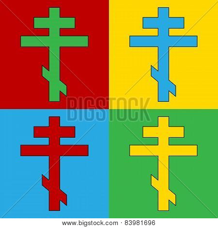 Pop Art Religious Orthodox Cross Symbol Icons.