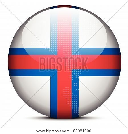 Map With Dot Pattern On Flag Button Of Faroe Islands