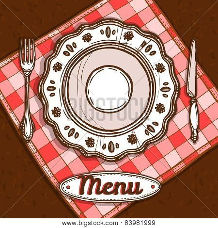 Menu With Porcelain Plate