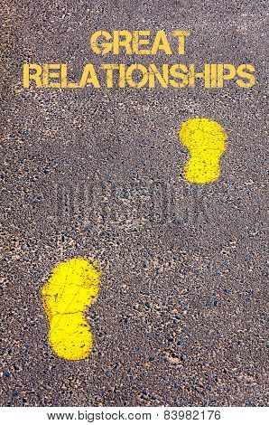 Yellow Footsteps On Sidewalk Towards Great Relationships Message