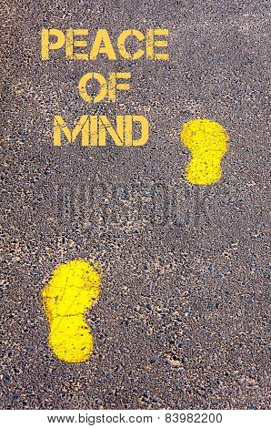 Yellow Footsteps On Sidewalk Towards Peace Of Mind Message