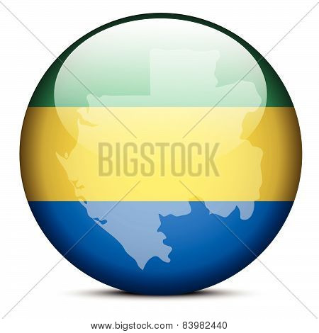 Map On Flag Button Of Gabon, Gabonese Republic
