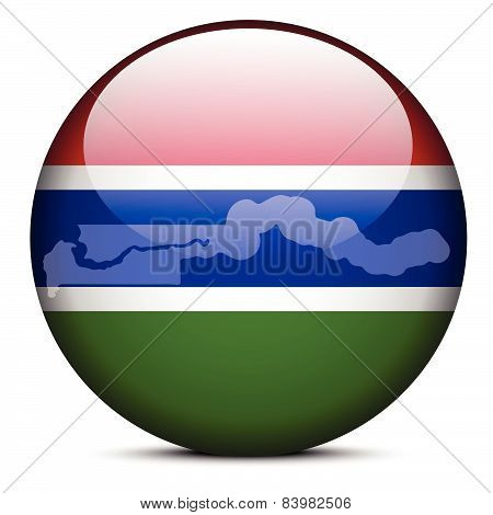 Map On Flag Button Of Republic Of The Gambia
