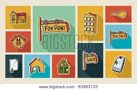 Real Estate Sketch Style Flat Icon Set