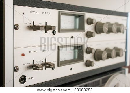 Control Panel Reel Tape Recorder Closeup