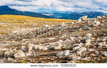 Norway Nature Mountain Landscape. Panoramic View