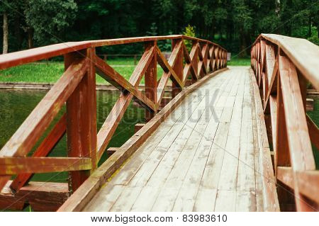 Old Red Rustic Wooden Bridge Background