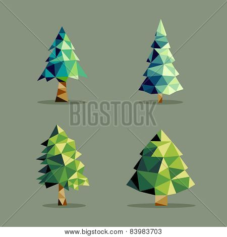 Polygonal Abstract Pine Tree Set