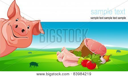 Vector Design With Pig, Ham, Pork, Vegetable And Farmland