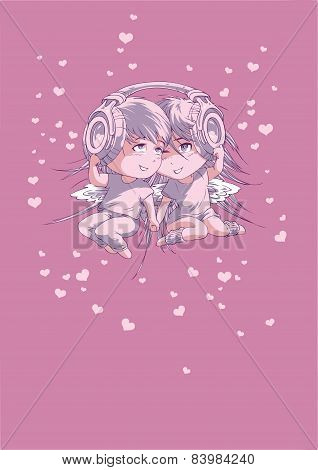 Valentine's Day Postcard Boy And Girl In Headphones