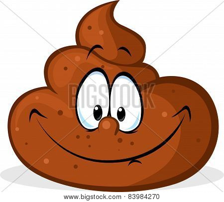 Funny Poo Cartoon - Vector Illustration