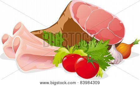 Ham With Vegetable - Vector Illustration Isolated On White Background