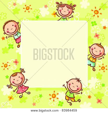 Square frame with five kids