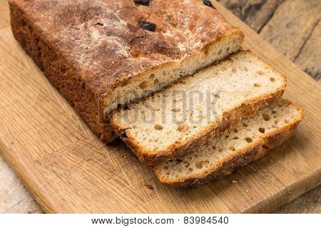 Sliced Loaf Of Homemade Unleavened Wheat Bread