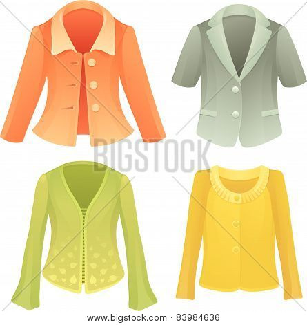 Four colorful vector jackets