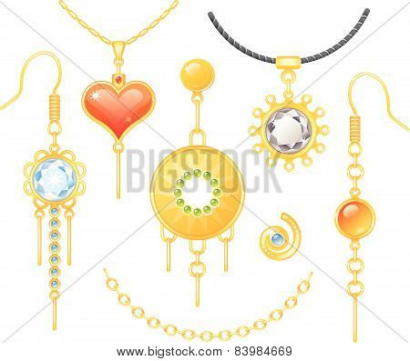 Set of earrings and necklaces