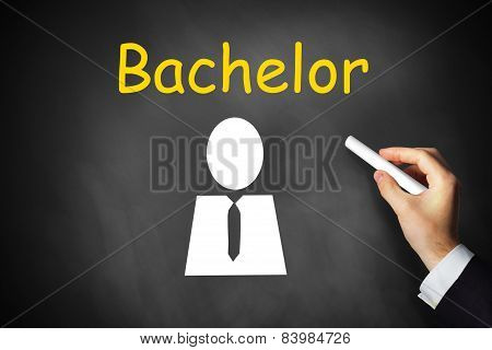 Hand Writing Bachelor On Black Chalkboard