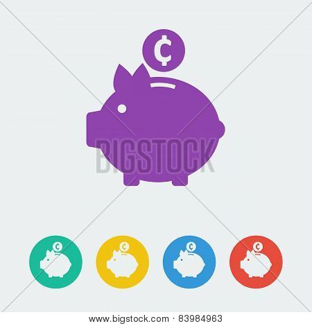 vector piggy bank flat circle icon