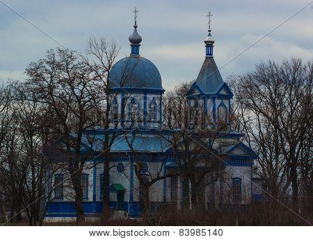 Orthodox Blue  Church In Skorikovka, Ukraine