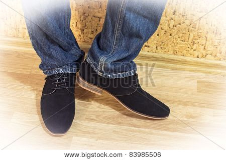 Presentation Of New Models Of Men's Suede Shoes And Jeans