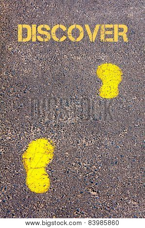 Yellow Footsteps On Sidewalk Towards Discover Message